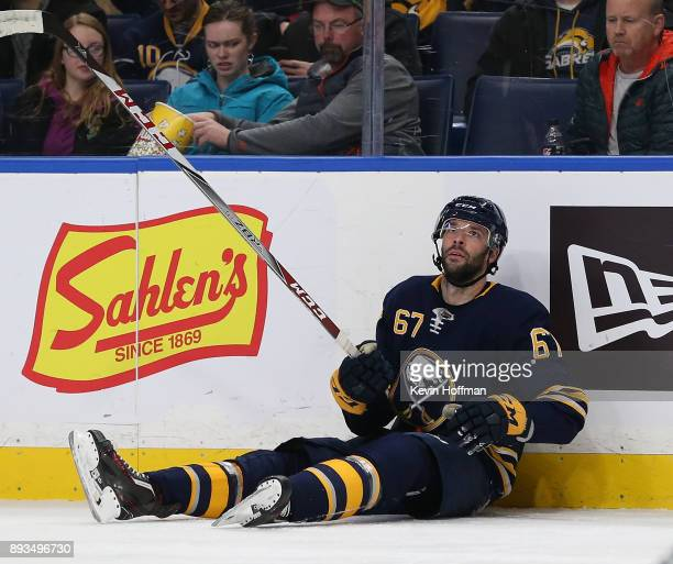 Benoit Pouliot of the Buffalo Sabres during the game against the Ottawa Senators at the KeyBank Center on December 12 2017 in Buffalo New York