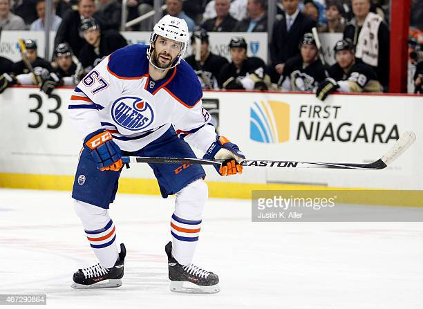 Benoit Pouliot of the Edmonton Oilers skates during the game against the Pittsburgh Penguins at Consol Energy Center on March 12 2015 in Pittsburgh...
