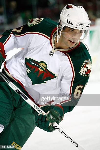 Benoit Pouliot of the Minnesota Wild skates during the warm up period prior to facing the Montreal Canadiens at the Bell Centre on October 04 2008 in...
