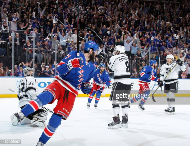 Benoit Pouliot of the New York Rangers reacts after scoring a goal in the first period against the Los Angeles Kings during Game Four of the 2014 NHL...