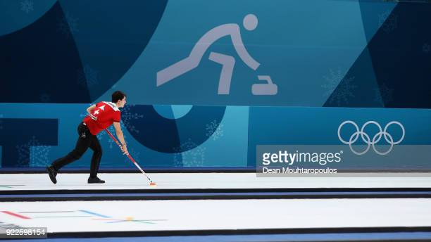 Benoit Schwarz of Switzerland competes in the Curling Men's Tiebreaker against Great Britain on day thirteen of the PyeongChang 2018 Winter Olympic...