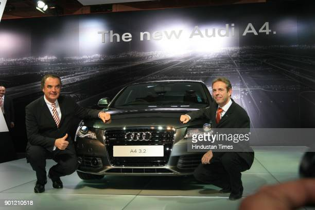 Benoit Tiers MD Audi India and Ralph WylerMember Board Audi India at the launch of New Audi A4 Car at the 9th Auto Expo in New Delhi on Wednesday