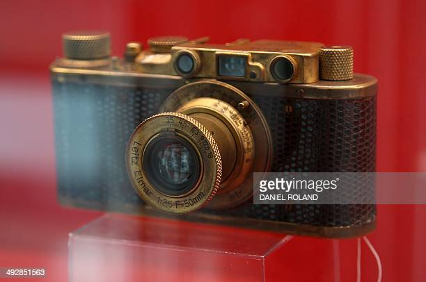 Benoit TOUSSAINT A Leica II Model D Luxus part of an auction taking place on May 23 is pictured on the occasion of the company's 100 year anniversary...