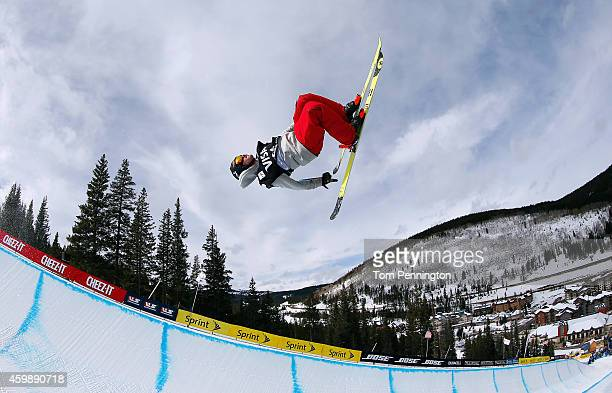 Benoit Valentin of France competes in the qualifying round of the FIS Freestyle Ski World Cup 2015 men's ski halfpipe heat 1 during the USSA Grand...