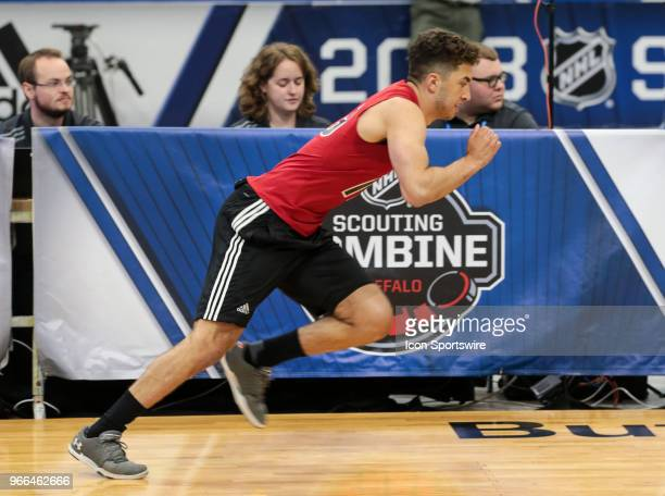 BenoitOliver Groulx completes the pro agility test during the NHL Scouting Combine on June 2 2018 at HarborCenter in Buffalo New York