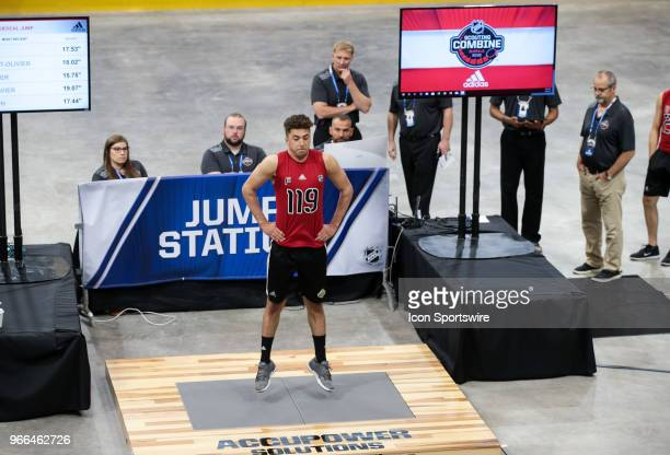 BenoitOliver Groulx completes the standing jump test during the NHL Scouting Combine on June 2 2018 at HarborCenter in Buffalo New York
