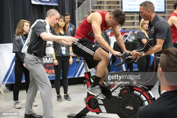 BenoitOliver Groulx of completes the#2 completes the Wingate cycle test during the NHL Scouting Combine on June 2 2018 at HarborCenter in Buffalo New...