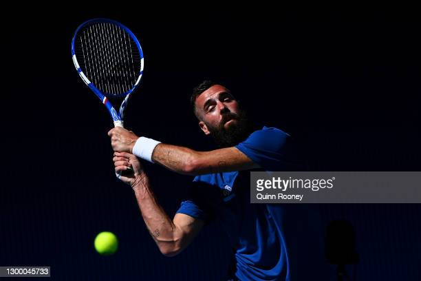 BenoitPaire of France plays a backhand in his Group C singles match against FabioFognini of Italy during day two of the 2021 ATP Cup at John Cain...