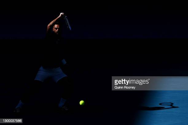 BenoitPaire of France plays a forehand in his Group C singles match against FabioFognini of Italy during day two of the 2021 ATP Cup at John Cain...
