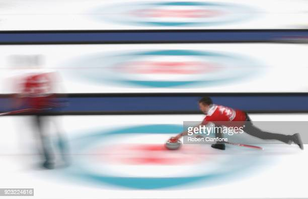 Benolt Schwarz of Switzerland competes during the Bronze Medal match between Canada and Switzerland on day fourteen of the PyeongChang 2018 Winter...
