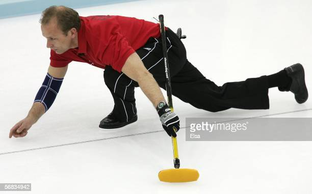 Bent Aanund Ramsfjell of Norway watches the stone during the preliminary round of the men's curling between the United States and Norway during Day 3...
