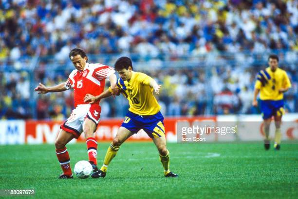 Bent Christensen of Denmark and Anders Limpar of Sweden during the European Championship match between Sweden and Denmark at Rasunda Stadium Solna...