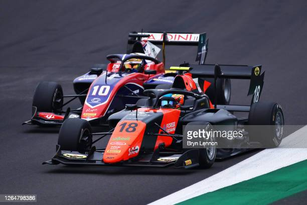 Bent Viscaal of the Netherlands and MP Motorsport leads Lirim Zendeli of Germany and Trident during race two of the Formula 3 Championship at...