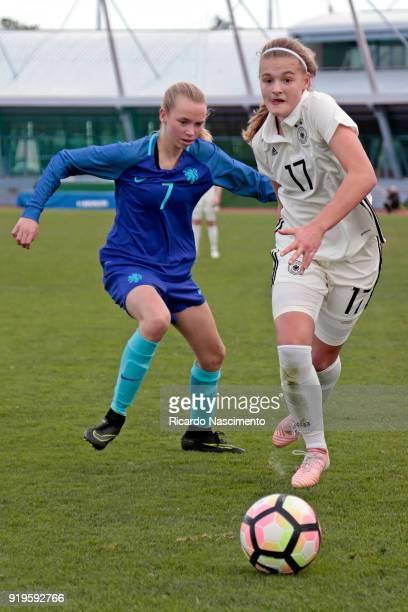 Bente Fischer of Girls Germany U16 challenges Ella Peddermors of Girls Netherllands U16 during UEFA Development Tournament match between U16 Girls...