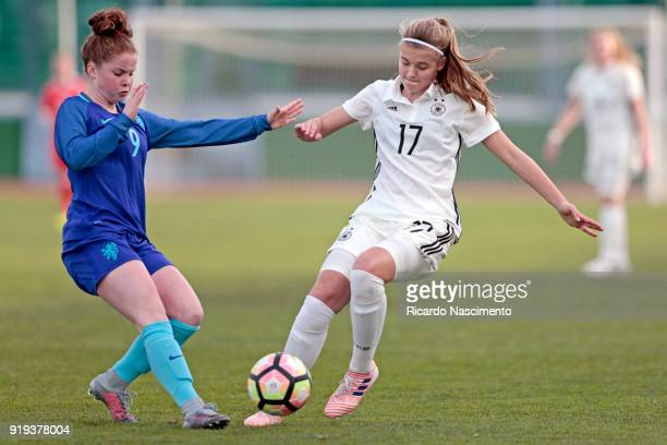 Bente Fischer of Girls Germany U16 challenges Nikita Tromp of Girls Netherllands U16 during UEFA Development Tournament match between U16 Girls...