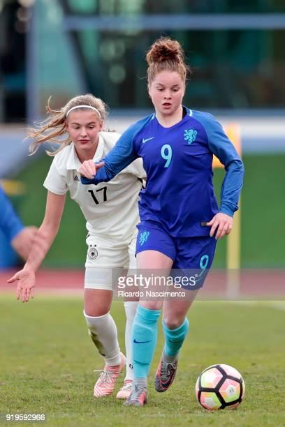 Bente Fischer of Girls Germany U16 challenges Nikita Tromp of Girls Netherllands U16 during UEFA Development Tournament match between U16 Girls...