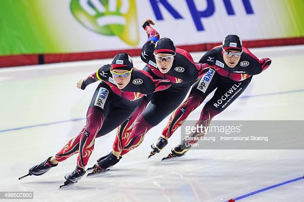 Bente Kraus, Claudia Pechstein, and Gabriele Hirschbichler of Germany skate in the Women's Team Pursuit during the ISU World Allround Speed Skating...