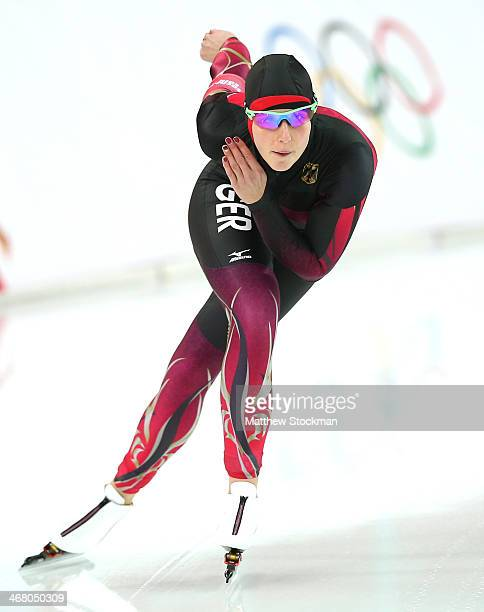 Bente Kraus of Germany competes during the Women's 3000m Speed Skating event during day 2 of the Sochi 2014 Winter Olympics at Adler Arena Skating...