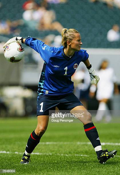 Bente Nordby of team Norway goes for the pass during the first round action in Group B of the 2003 FIFA Women's World Cup against team France at...