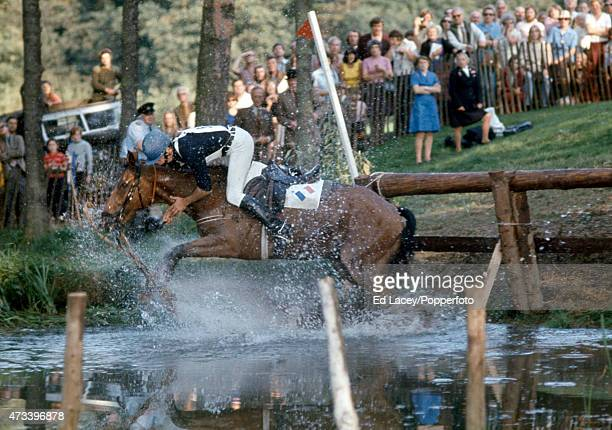 D Bentejac of France falls from Aragon during the Cross Country section of the Burghley Horse Trials in Stamford England on 14th September 1974