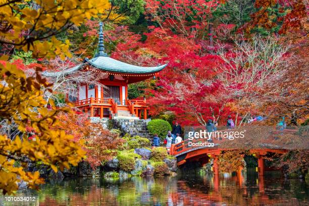 Bentendo Hall and Tourists taking photo on bridge, Daigoji Temple, Kyoto