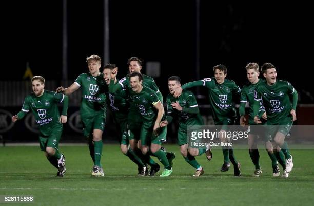 Bentleigh Greens celebrate after defeating Hme City in a penalty shoot out during the FFA Cup round of 32 match between Hume City FC and Bentleigh...