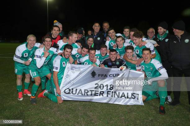 Marco Jankovic of Bentleigh contests the ball with Dino Fajkovic of Broadmeadow during the FFA Cup round of 16 match between Broadmeadow Magic and...