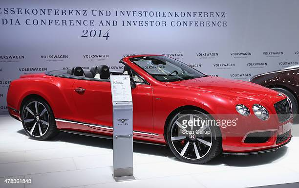 Bentley 14MY Continental GT V8 S convertible car stands on display prior to the Volkwagen annual press conference to announce financial results for...