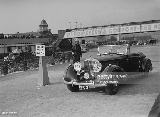 Bentley 4seater tourer of GG Wood competing in the JCC Rally Brooklands Surrey 1939 Artist Bill BrunellBentley 4seat tourer by Van den Plas 1938 4...