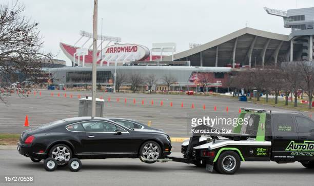 A Bentley automobile was towed away from the Kansas City Chiefs practice facility in Kansas City Missouri on Saturday morning December 1 following...