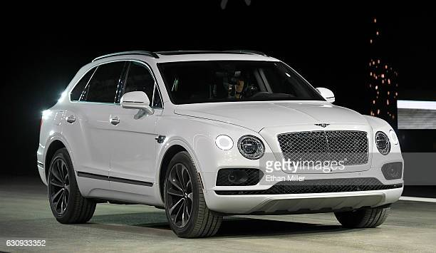 Bentley Bentayga is shown during a speed test against Faraday Future's FF 91 prototype electric crossover vehicle during the FF 91's unveiling at a...