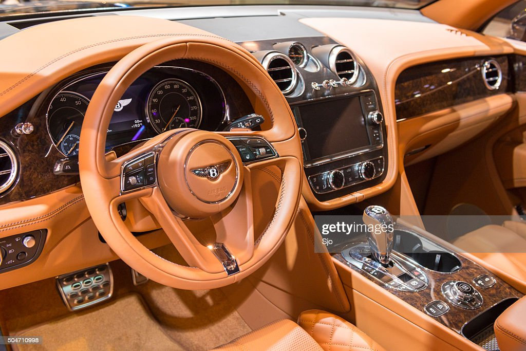 bentley bentayga luxury suv interior stock photo getty images. Black Bedroom Furniture Sets. Home Design Ideas