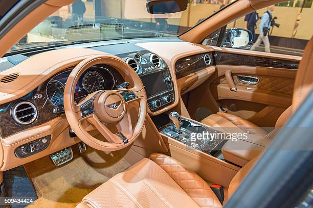 bentley bentayga luxury suv interior - bentley stock pictures, royalty-free photos & images