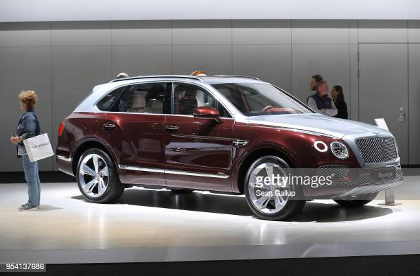 Bentley Bentayga luxury SUV stands on display at German car manufacturer Volkswagen AG's annual general shareholders' meeting on May 3 2018 in Berlin...