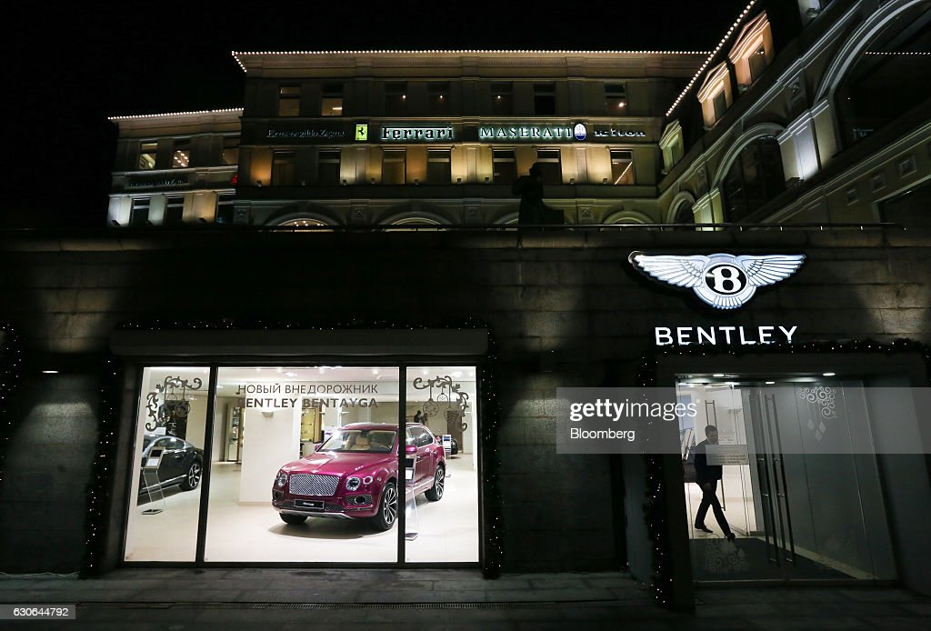 A Bentley Bentayga SUV sits in the window of the Bentley automobile dealership on Tretyakov Drive in Moscow, Russia, on Thursday, Dec. 29, 2016. President-elect Donald Trump said Wednesday that the U.S. should move on rather than retaliate against Russia for interfering in the 2016 election, with the Obama administration expected to soon take action against Moscow. Photographer: Andrey Rudakov/Bloomberg via Getty Images