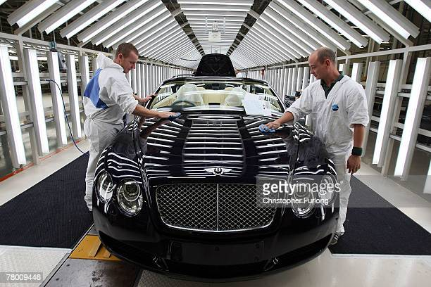 Bentley car sits inside a light tunnel and undergoes final preparation and inspection at the Bentley Motors Factory on 19 November 2007 in Crewe...