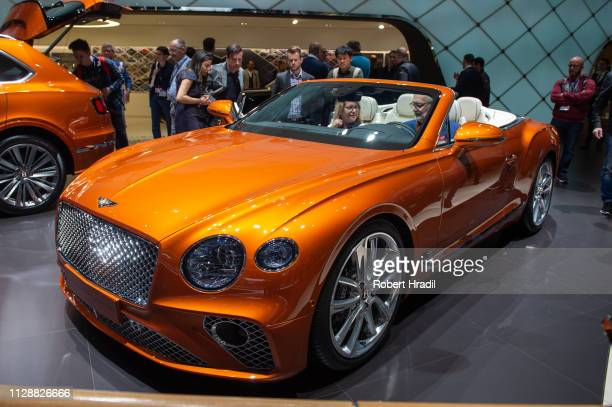 Bentley Continental GT Convertible is displayed during the second press day at the 89th Geneva International Motor Show on March 6 2019 in Geneva...