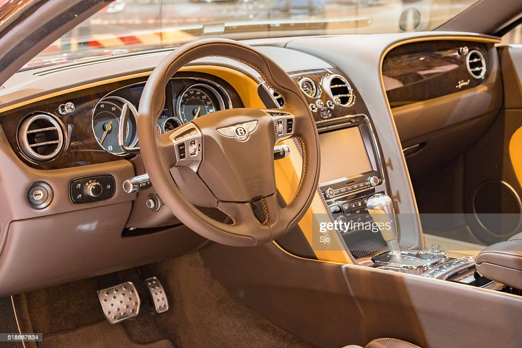 bentley continental gt speed sports car interior with dark leath stock photo getty images. Black Bedroom Furniture Sets. Home Design Ideas