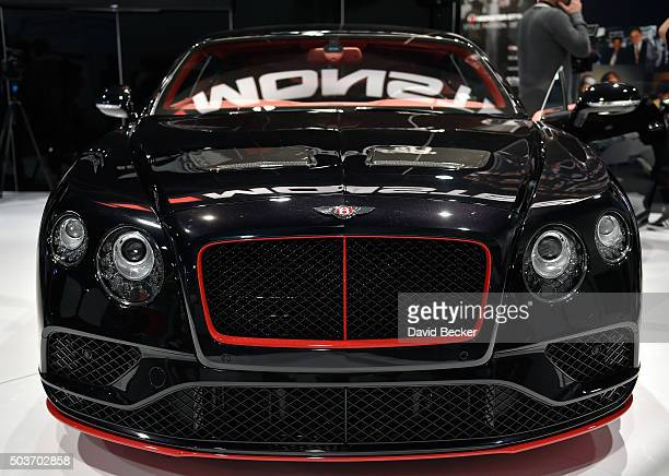 Bentley Continental GT V8 S is displayed at the Monster booth at CES 2016 at the Las Vegas Convention Center on January 6 2016 in Las Vegas Nevada...