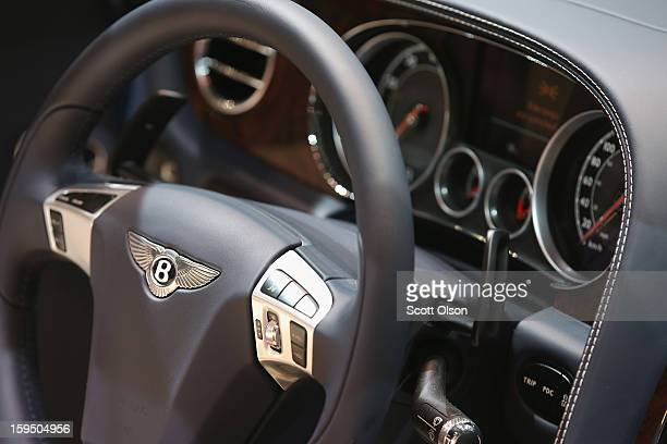 Bentley emblem graces the steering wheel of the 202 MPH Bentley Continental GT Speed Convertible during the media preview at the North American...