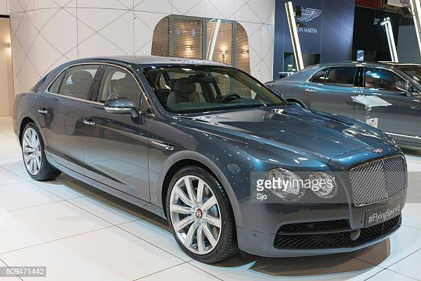 bentley flying spur v8 luxury sedan - bentley stock pictures, royalty-free photos & images