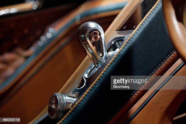 Bentley logo adorns the gearstick inside a Bentley EXP 10 Speed 6 concept automobile, produced by Bentley Motors Ltd., a luxury unit of Volkswagen AG...