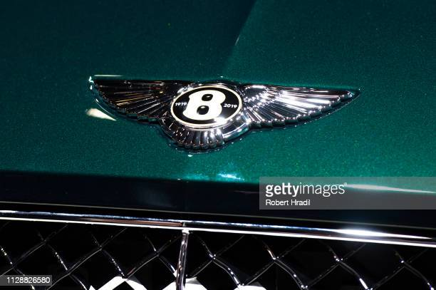 Bentley logo is displayed during the second press day at the 89th Geneva International Motor Show on March 6 2019 in Geneva Switzerland