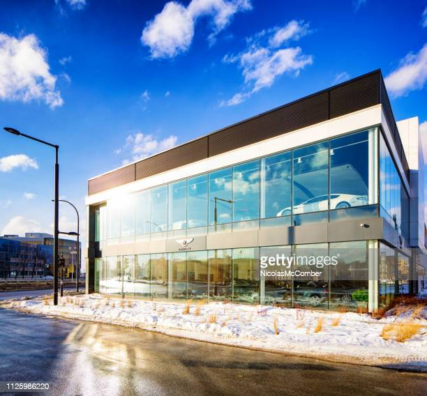 bentley montreal car dealership  in winter - auto repair shop exterior stock pictures, royalty-free photos & images
