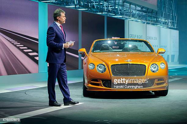Bentley Motors Chairman and CEO Wolfgang Schreiber presents the new Bentley Continental GT Speed during the Volkswagen Group preview ahead of the...