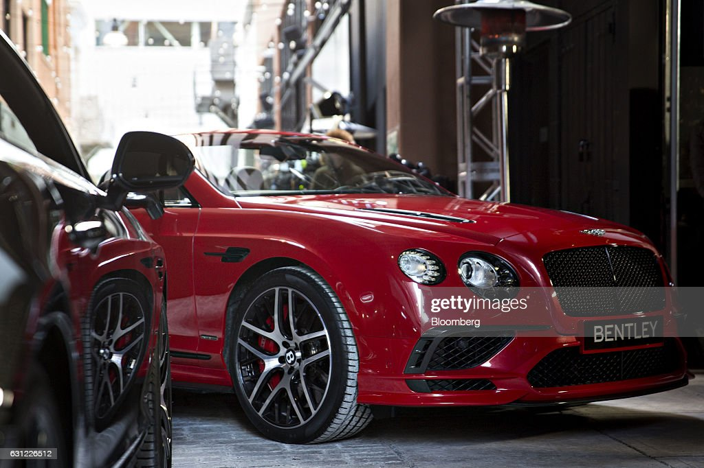 A Bentley Motors Ltd. 2017 Continental Supersports convertible vehicle sits on display next to a Supersports coupe vehicle, left, during a reveal event ahead of the 2017 North American International Auto Show (NAIAS) in Detroit, Michigan, U.S., on Sunday, Jan. 8, 2017. The 2017 Continental Supersports, Bentley's fastest, most powerful production Bentley ever, is the third iteration of the Supersports model that Bentley first produced in the 1920's and reintroduced in 2009. Photographer: Andrew Harrer/Bloomberg via Getty Images
