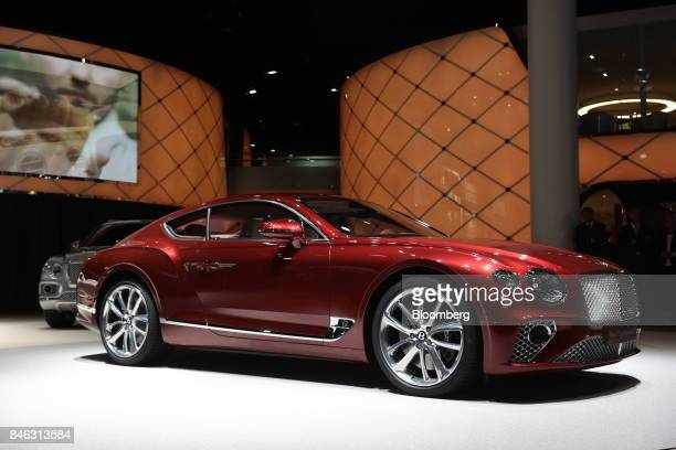 A Bentley New Continental GT luxury automobile manufactured by Bentley Motors Ltd stands on display during the first media preview day of the IAA...