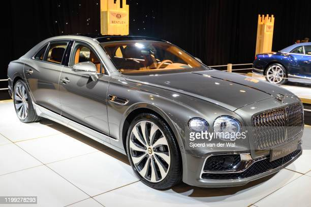 Bentley New Flying Spur luxury limousine on display at Brussels Expo on January 8, 2020 in Brussels, Belgium. The The third-generation Flying Spur is...