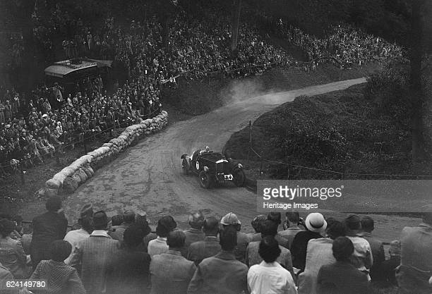 Bentley of Eddie Hall competing in the Shelsley Walsh Hillclimb Worcestershire 1935 Artist Bill BrunellBentley 3669 cc Vehicle Reg No AXN373 Event...