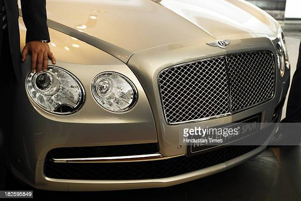 Bentley's Flying Spur luxury Sedan during its launch on October 1 2013 in New Delhi India The luxury Sedan is powered by a six litre twinturbo W12...